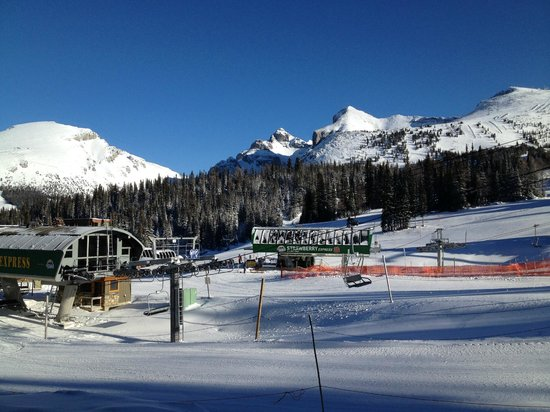 Sunshine Village: The bottom of the Strawberry lift