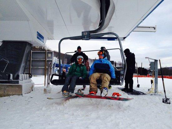 Shawnee Mountain Ski Area: First chair of the season.