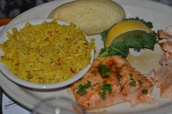 Williams Landing: Salmon with jasmine rice.