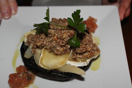 Tapas Restaurant : Brie Stuffed Portabello Mushroom with pear