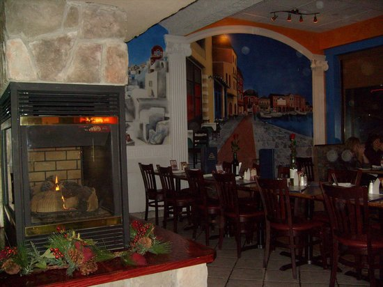 The Greek Islands Mediterranean Grill and Bar: By a warm fire