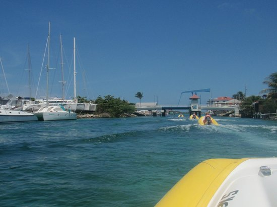 Rhino Riders out to Creole Rock: photo in the bay on our way to open ocean