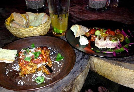 Playa de los Artistas: Tuna lasagna on the left and Tuna steak on the right