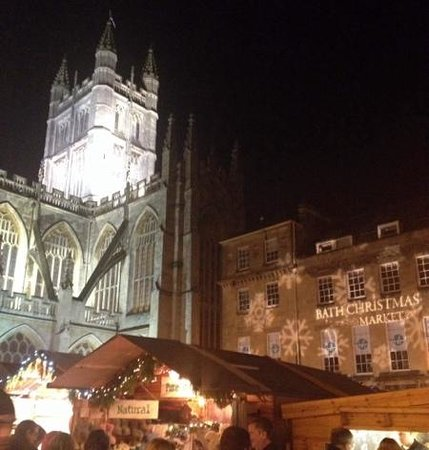 Bath Abbey during the very popular Christmas Market. easy walk from Apple Tree Guest House.