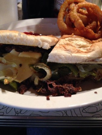 Blue Moon Diner: Steak and cheese with onion rings at Blue Moon