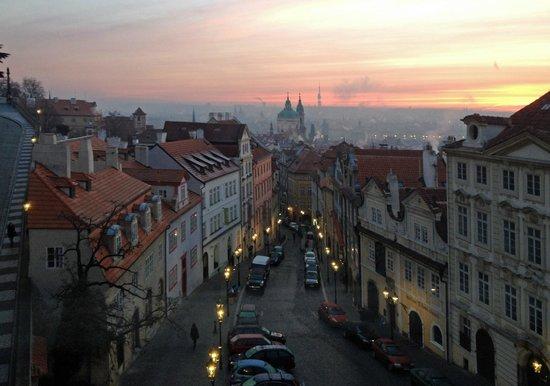 Sunrise over Prague from Golden Star Hotel