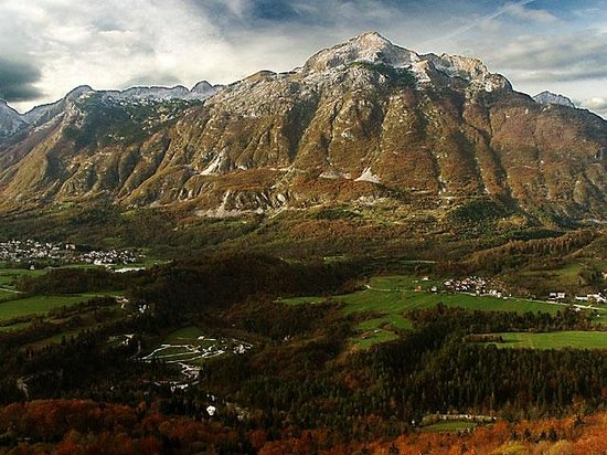 Bovec under Rombon mountain in autumn