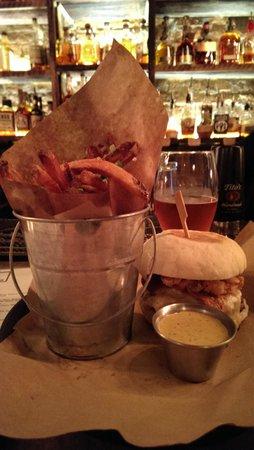 Stock and Barrel: Black & Blue Burger w/Duck Confit Fries, Garlic Aioli, & a Nice IPA