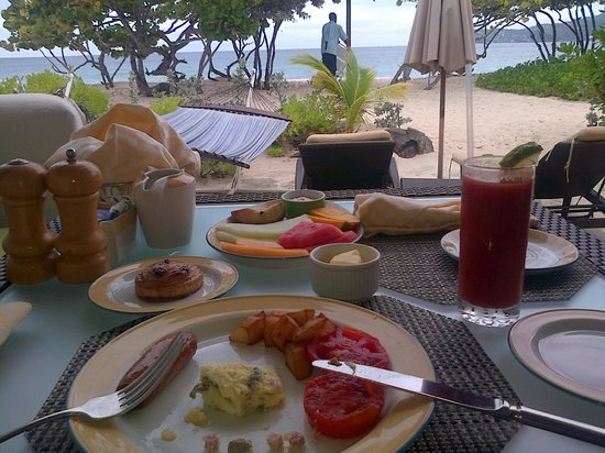 Spice Island Beach Resort : Breakfast outside room.