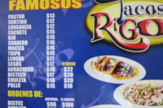 Tacos Rigo : part of the menu