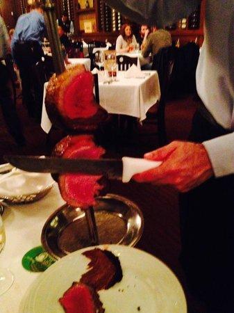 Fogo de Chao Brazilian Steakhouse : Green light on table, meat arrives.