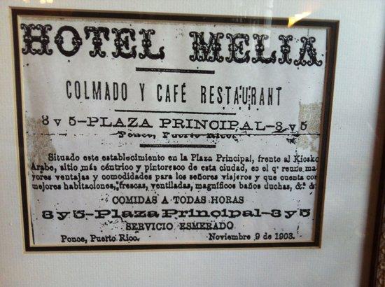 Hotel Melia Ponce: El Hotel Melia. Un anuncio de los inicios del negocio.