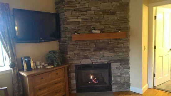 The Hermitage Inn: Fireplace and large flat screen tv