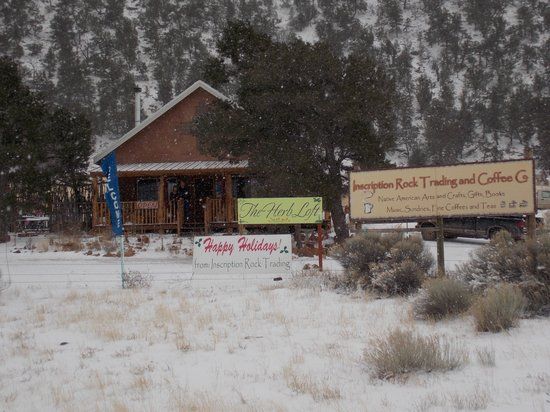 Ramah, NM: Snowy Day at Inscription Rock Trading and Coffee Co.