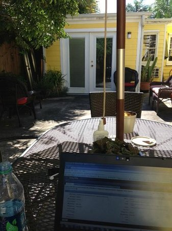 Auld Sweet Olive Bed and Breakfast: Working in the lovely courtyard
