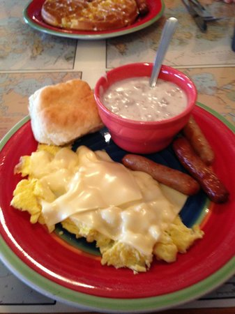Island Cafe: Scrambled eggs with cheese, sausage, biscuit and gravy-GOOD