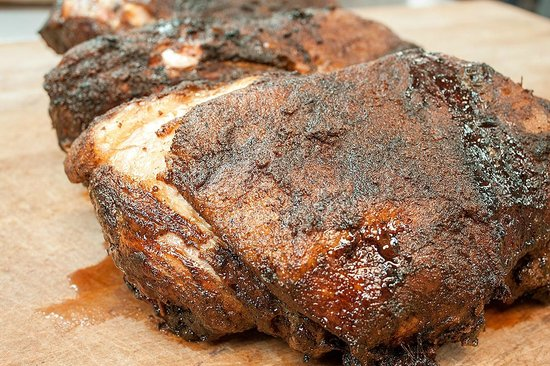 Bullpen Rib House: Smoked Boston Butts - ready to get pulled and turned into pulled pork