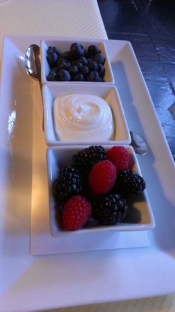 The Inn at Little Washington : Fresh fruit and greek yogurt (made on premises) are part of the wonderful breakfast offerings