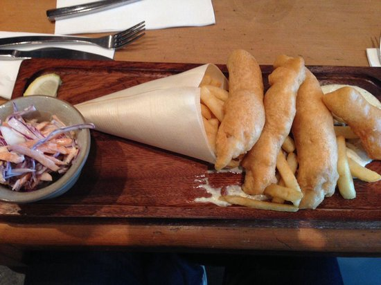 The Boyz 4 Breakie: Fish and chips with coleslaw.
