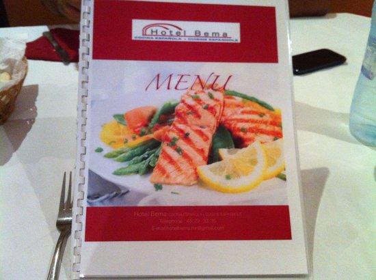Restaurante Hotel Bema: Carta del Bema