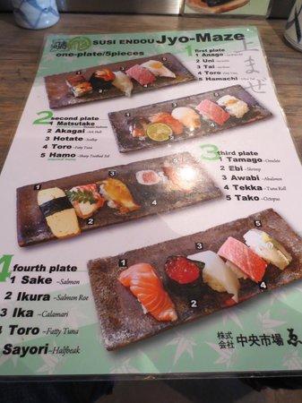 Endo Sushi Kyobashi : Menu in English