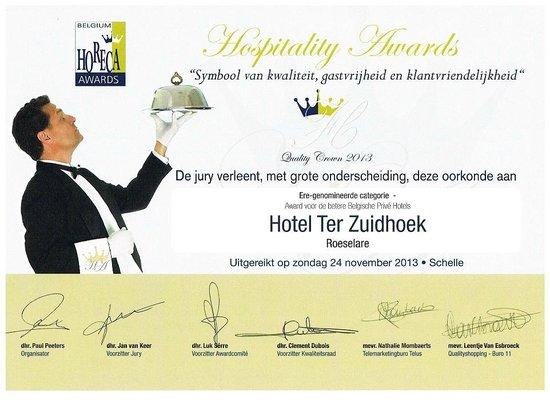 Hotel Ter Zuidhoek: hospitalityaward