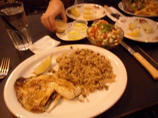 Odelia : Fish, Majedra rice and salad.