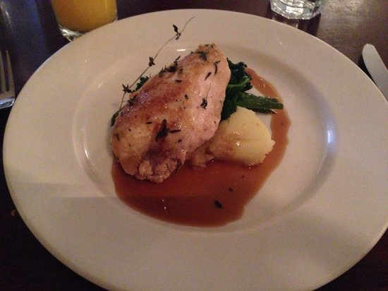 The Green: Chicken breast, crushed potatoes and wilted spinach