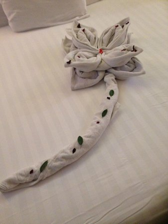 Premier Romance Boutique Hotel and Spa : towel art left daily by ed our house keeper. great guy