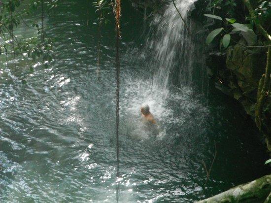 Hike Maui : Swimming up to a waterfall