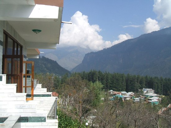 The Manali Lodge: View from our room balcony
