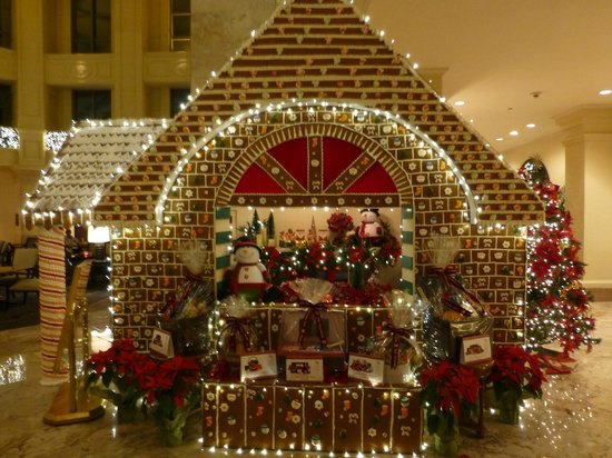 The Peninsula Manila: A gingerbread house made of gingerbread in the lobby - you can walk into it