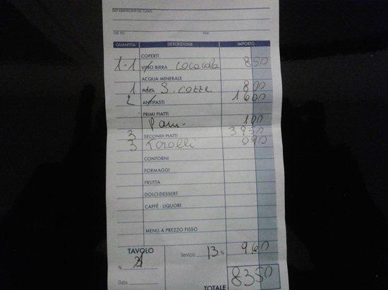 """Trattoria Castel Dell  Ovo: """"ricevuta fatta in casa"""""""