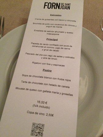 Forn de Sant Joan : Carta menu