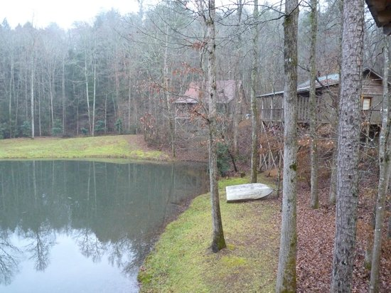 Cavender Creek Cabins Resort: A view of the pond out back.