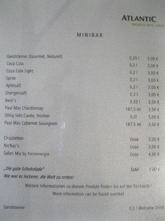 ATLANTIC Congress Hotel Essen: Меню минибара