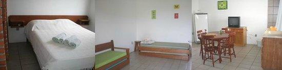Residencial Mar & Dunas: Apartamento com bicamas na sala - roupas de cama opcionais.