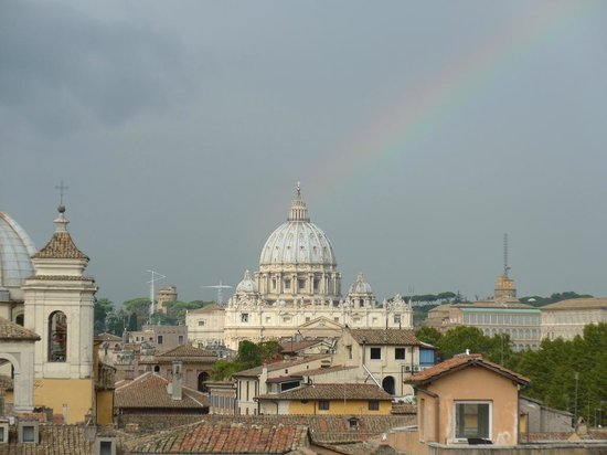 Rainbow over St. Peter's Basilica, as seen from the terrace at the Hotel Genio