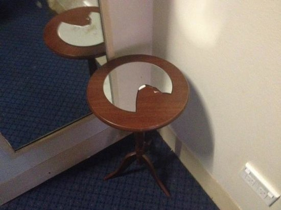 Wiley Park Hotel: Sharp broken mirror on side table
