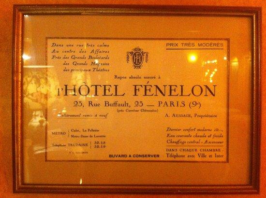 Hotel Villa Fenelon Opera : Ancienne carte d'entrée affichée à l'entrée