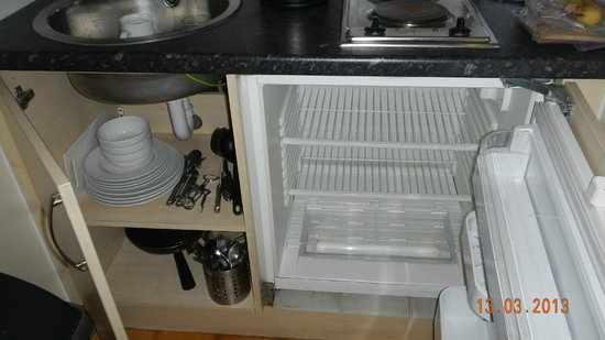 Prince's Square Apartments : small refrigerator and kitchenware