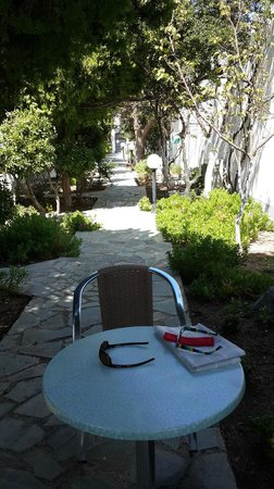 Aressana Spa Hotel and Suites: Patio in Back of Hotel Room