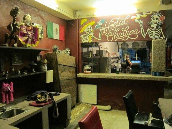 Chalupa Hostal : reception area, book exchange