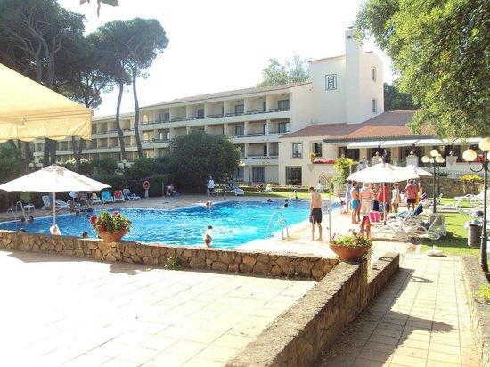 Hotel Guadacorte Park: Vista de la piscina y de la fachada posterior del hotel.