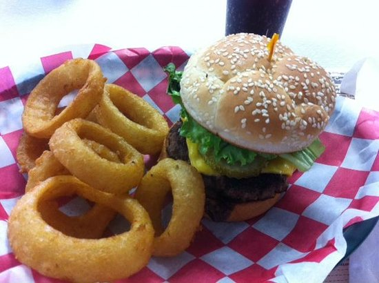 50's Diner Backseat Bar: Bacon cheese burger with onion rings