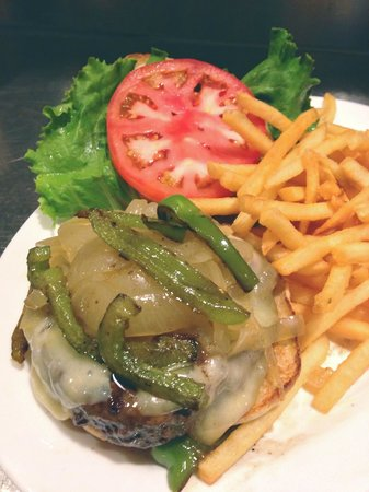 Hamburger Heaven: The Bronx Burger w/ Sauteed Onion, peppers and Swiss Cheese