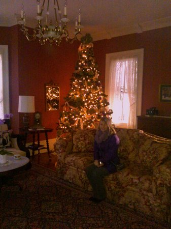 The John Penrose Virden House: Chrissy near the Christmas tree in the living room.