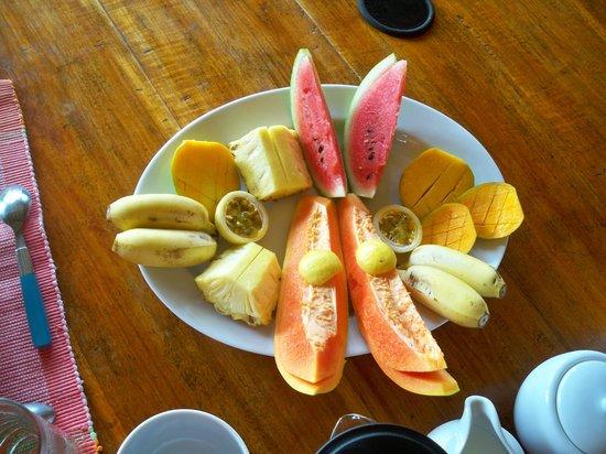 Breakfast fruit platter at The Teak House.