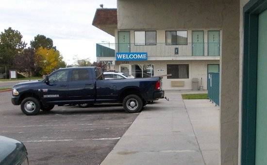 Motel 6 Cheyenne: basically no motel security checks.  Dangers are sometimes present like this steel iron protrudi