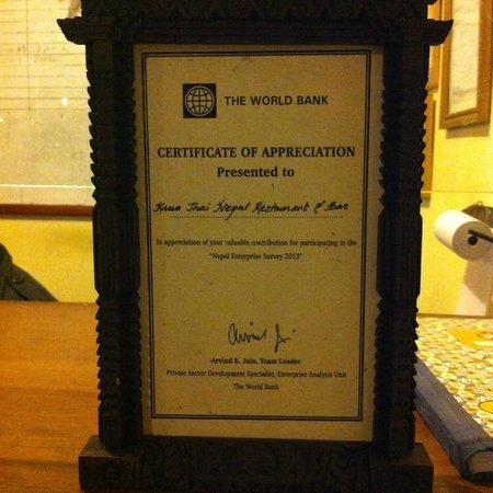 Krua Thai Restaurant : certificate from world bank